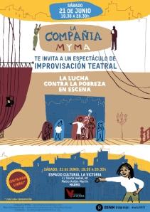"""Cartel del espectáculo de impro el sábado 21 en """"La Victoria"""", Madrid"""